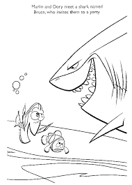 finding nemo shark coloring printables