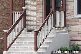 combination of concrete porch with wood railing interunet
