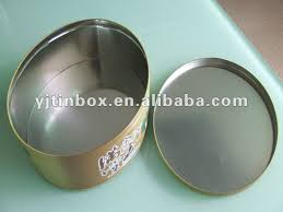 empty printed food grade round tinplate cake box tin can for