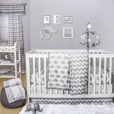 ellie chevron crib starter set in grey