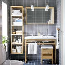 Bathroom Built In Storage Ideas Completed Brown Wood Layered Wall Panel Undermount Sink