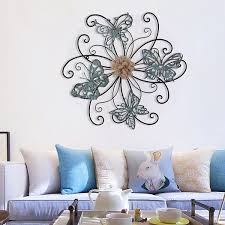 homes art flower and butterfly urban design metal wall decor for