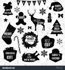 christmas icons merry christmas vintage grunge stock vector