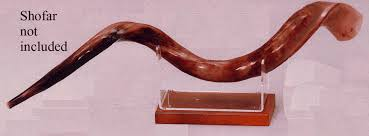 yemenite shofar stand shofar stand with wood base large
