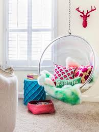 Chairs For Girls Bedrooms | chic teen girl room with bubble hanging chair contemporary