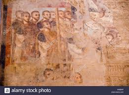 ancient egyptian religion wall painting stock photos ancient egypt luxor the temple coptic christian wall painting plastered over ancient egyptian reliefs stock image