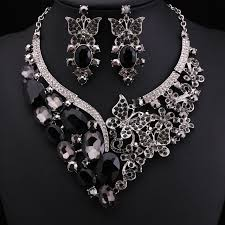 black necklace sets images Fashion brand party black crystal jewelry bridal jewellery wedding jpg