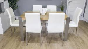 Large Oak Kitchen Table by Contemporary Modern Oak Dining Table And Faux Leather Dining