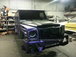 mercedes benz jeep matte black mercedes benz g55 wald black bison wrapped in purple metallic