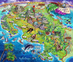 Map Costa Rica Detailed Tourist Illustrated Map Of Costa Rica Vidiani Com