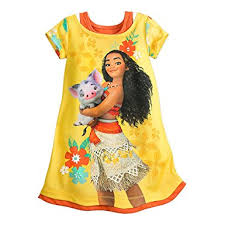 amazon com disney moana nightshirt for girls yellow clothing
