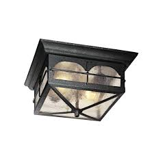2 light aged iron outdoor flush mount