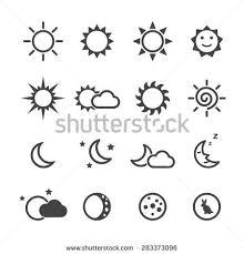 sun and moon icons mono vector symbols yarn painting