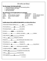 spanish practice worksheets for the verb ser by mr electives tpt