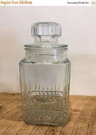 vintage glass canister clear glass apothecary square jar with