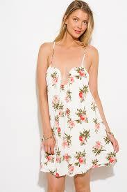 sun dress shop ivory white floral print sweetheart v neck boho mini sun
