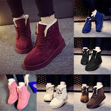 s boots lace fashion s boots flat ankle lace up fur lined winter warm