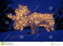 Outdoor Lighted Christmas Decorations by Lighted Moose At Christmas Royalty Free Stock Photography Image