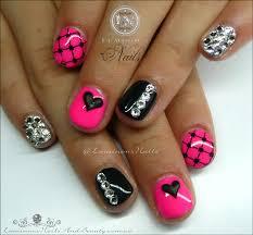 luminous nails cute pink u0026 black gel nails for a cute little