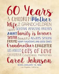 60 years birthday birthday gift for 60th birthday 60 years gift for