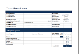 Excel Forms Template Ms Excel Travel Advance Request Form Template Excel Templates