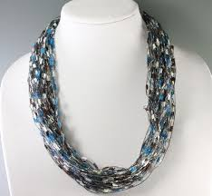 z u0027s blue brown trellis ribbon necklace