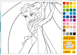 play frozen coloring pages game kidonlinegame