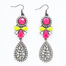 pink drop earrings neon drop earrings neon pink yellow chunky statement earrings