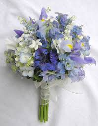 wedding flowers valley blue and white bouquet pale iris delphinium of the valley