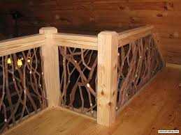 stair railing and balcony handrail artistic branch wood railing