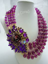 bib necklace beaded images The uju purple rhinestone beaded statement necklace hautecorals jpg