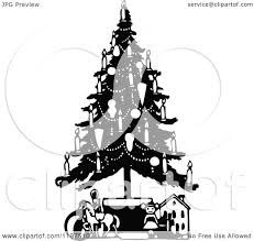 clipart of a vintage black and white christmas tree with candles