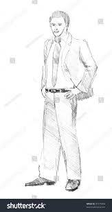 pencil drawing young business man stock illustration 97375904