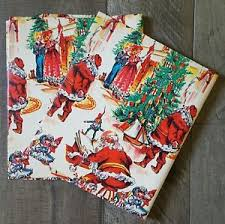 flat wrapping paper vintage flat wrapping paper christmas santa toys elves tree