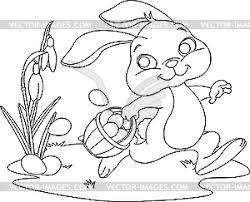 bunny hiding eggs coloring page vector clipart
