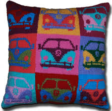 Patterns For Knitted Cushion Covers Stash Busting Pop Art Campervan Cushion Cover Slightly Sheepish