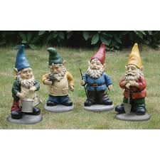 assorted garden gnomes set of 4 lawn ornaments ace hardware