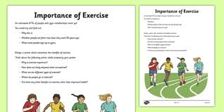 importance of exercise activity sheet exercise health heart