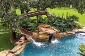 Water Slide Backyard Backyard Pool Designs With Slides Coryc Me