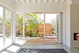 Folding Exterior Doors Decor Modern White Vinyl Frame Clear Glass Folding Exterior Door