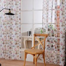 owl bedroom curtains transparent voile curtains printing animal kitchen sheer valances