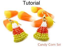 beaded candy corn halloween earrings beading tutorial pattern