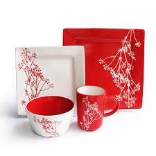 Red Kitchen Accessories Ideas Furniture Glossy Red Square Dinnerware For Kitchen Accessories Idea