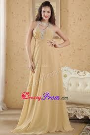 scoop neck gold prom evening dress with cutouts
