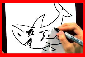how to draw a shark in 2 min how to draw easy cartoons animals