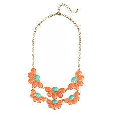 orange statement necklace images Suri 39 color block orange tangerine turquoise faceted stones flower jpg