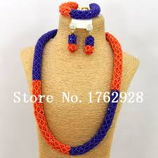 aliexpress bead necklace images Best selling royal blue and orange african wedding beads bridal jpg