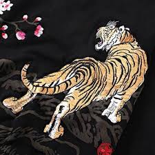 tiger embroidered zip up hoodie for cherry blossom black