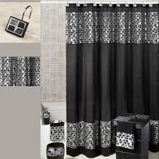 And Black Fabric For Curtains Black Mosaic Fabric Shower Curtain