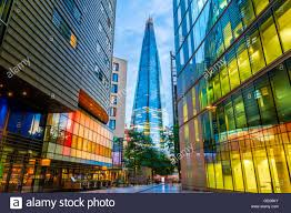 street view of modern buildings in london including the shard